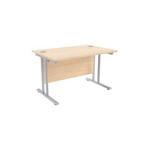 Jemini Maple/Silver W1200 x D800mm Rectangular Cantilever Desk KF839559