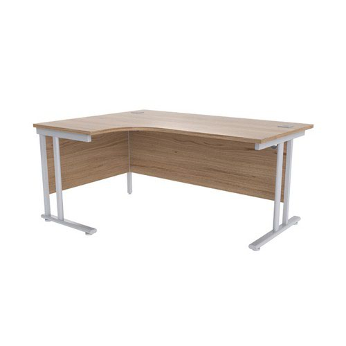Jemini Grey Oak/Silver 1600mm Left Hand Radial Cantilever Desk KF839627