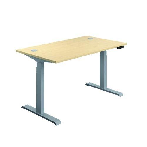 Jemini Sit Stand Desk 1400x800mm Maple/Silver KF809838