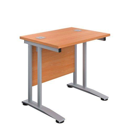 Double Upright Rectangular Desk 800X600 Beech Silver
