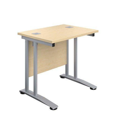 Double Upright Rectangular Desk 800X600 Maple Silver
