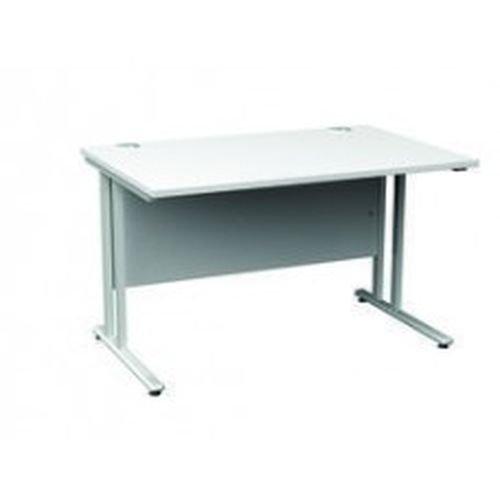 Maestro 25 Sl Silver Double Upright Cantilever Desk 1800W X 800D White 25mm Top 18mm Back Panel