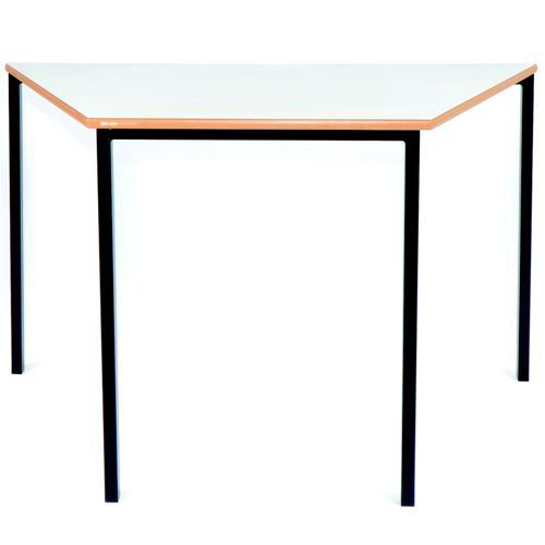 Essential Classroom Trapezoidal Table 1200x600mm Black Frame with a choice of MDF Edge Tops