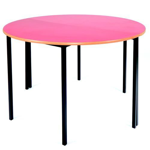 Essential Classroom Circular Table 1100mm Dia Black Frame with a choice of MDF Edge Tops