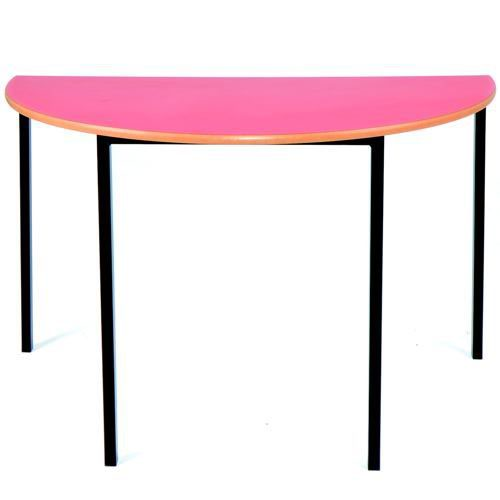 Essential Classroom Semi-Circular Table 1200x600mm Black Frame with a choice of MDF Edge Tops