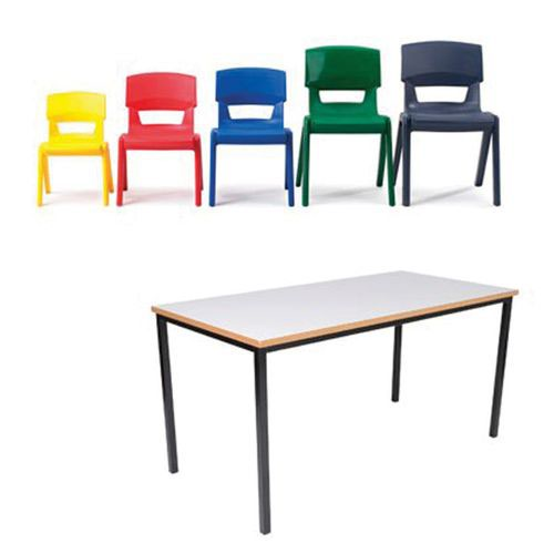 Essential Rectangular Table x 15 Table and Postura x30 Set Choice of MDF Top/Chair Colours 430/710