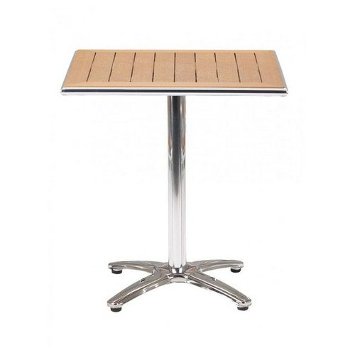 "Paulo Cafe Square Pedestal Table ""No Wood"" Surfaces with Aluminium Frame Self Assembly Required"