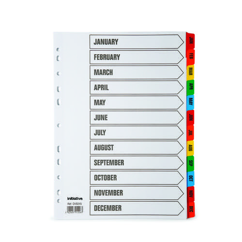 Initiative White Board A4 160gsm Divider Jan-Dec Coloured Mylar Tab