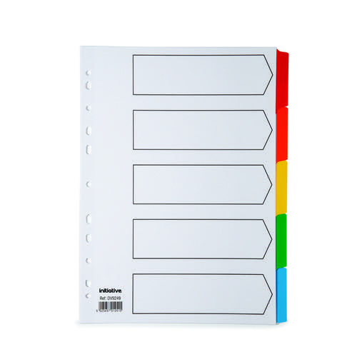Initiative White Board A4 160gsm Divider 5 Part Coloured Mylar Tab