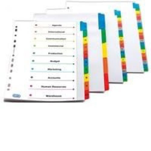 Elba A4 Coloured Mylar 10 Part Divider Assorted