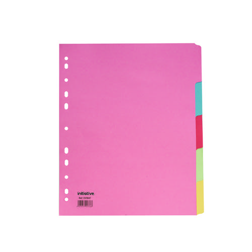 Initiative Divider A4 Extra Wide Manilla 5 Part Multi-Coloured 150gsm 100% Recycled