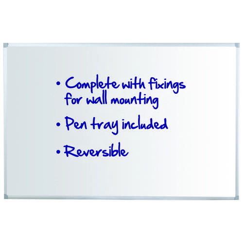Initiative Reversible Non Magnetic Drywipe Board Aluminium Frame With Pen Tray 1800x1200mm (6x4)