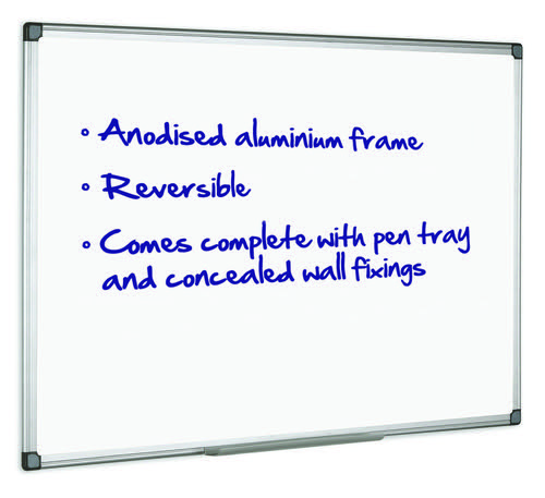 Initiative Magnetic Drywipe Board Anodised Aluminium Frame With Clip-on Pen Tray 900 x 600mm (3x2)