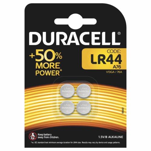 Duracell LR44 Alkaline Button Batteries 1.5V Pack of 4 A76/4