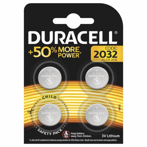 Duracell 2032 Lithium Coin Battery 3V Pack of 4