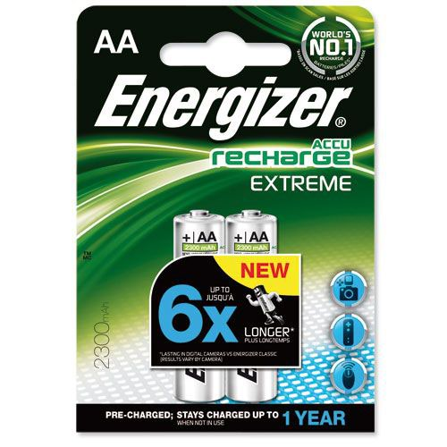 Energizer Battery Rechargeable NiMH Capacity 2300mAh HR6 1.2V AA Pack 2