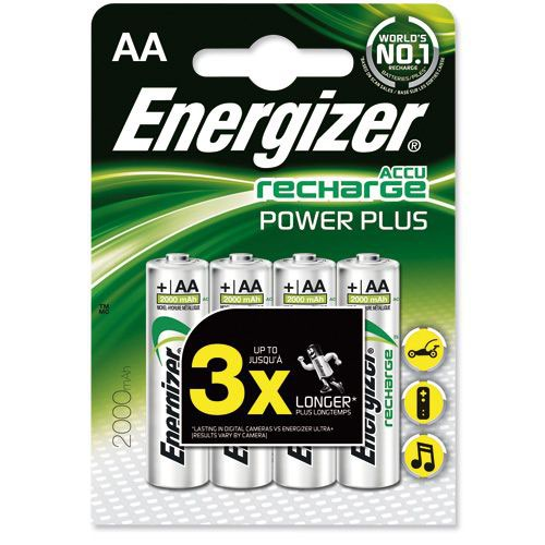 Energizer Battery Rechargeable NiMH Capacity 2000mAh HR6 1.2V AA Pack 4