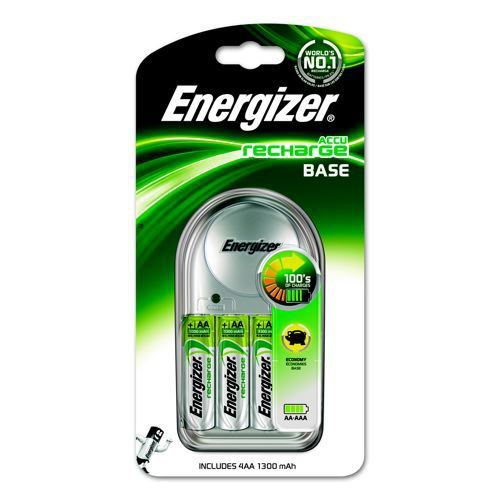 Energizer Base Battery Charger for AA AAA Includes 4xAA 1300mAh Batteries