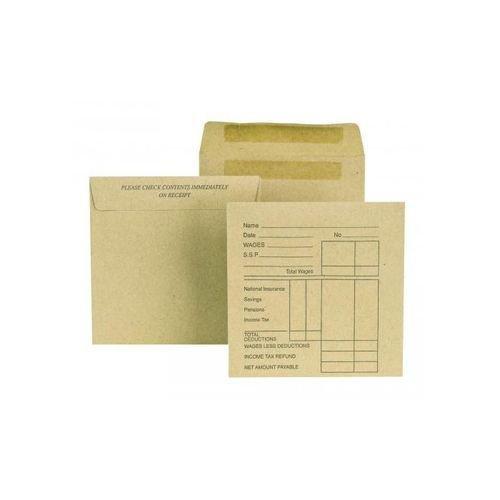 New Guardian Envelope Press n Seal Wage Pocket 108x102mm Printed Pack 1000