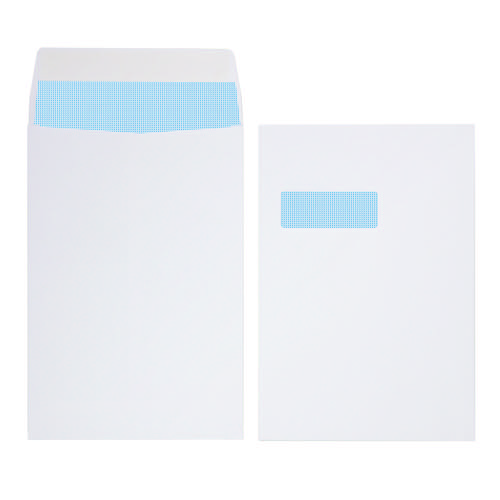 Initiative Envelope Gusset Pocket Window Peel & Seal C4 140gsm 324x229x25 White Pack 125