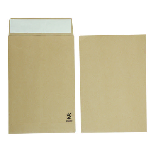 Initiative Envelope 25mm V-Base Gusset Pocketed Plain Peel n Seal C4 120gsm Manilla Pack 125