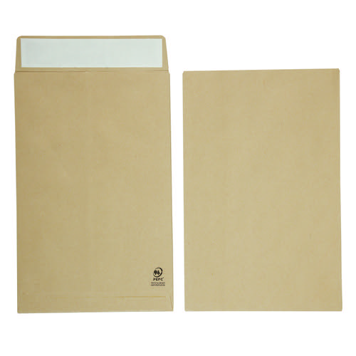 Initiative Envelope 25mm V-Base Gusset Pocketed Plain Peel n Seal 381x254x25 120gsm Manilla Pack 125