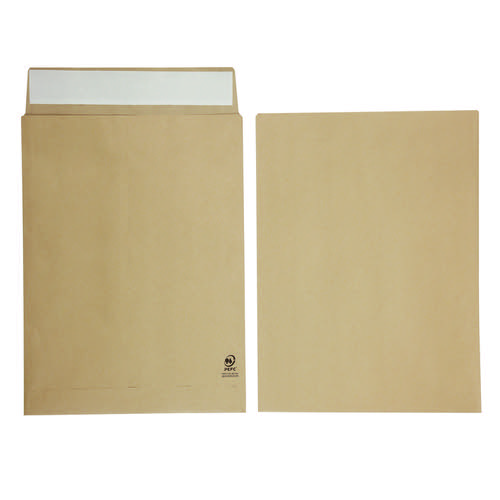 Initiative Envelope 25mm V-Base Gusset Pocketed Plain Peel n Seal 406x305x25 120gsm Manilla Pack 125