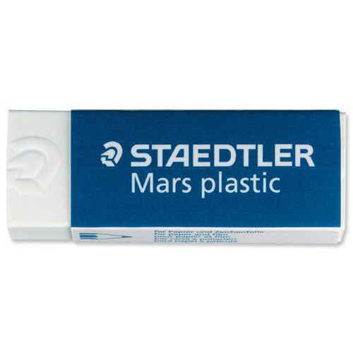 Staedtler Mars Plastic Eraser Premium Quality Self-cleaning 55x23x12mm Pack 2