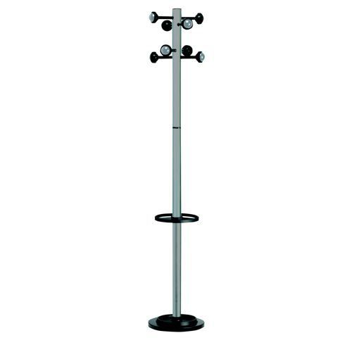 Decorative Coat Stand Solid Head Steel Post Umbrella Stand Double Pegs Grey