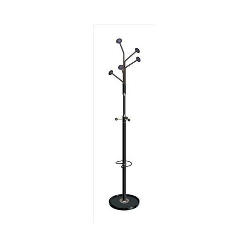 Tubular Coat Stand Integral Umbrella Holder 5 Round Pegs & 3 Accessory Pegs 1890mm Height Grey