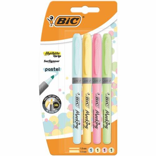 Bic Highlighter Grip Assorted Pastel Bl4
