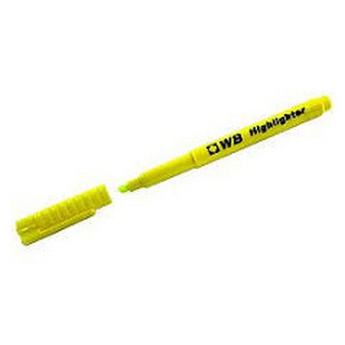 WhiteBox Water Based Highlighters Wedge Shapedtip Yellow pack 10