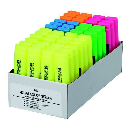 Dataglo Square Highlighters Assorted Pack 48