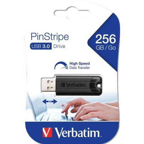 Verbatim Black Pinstripe 256Gb Usb 3.0 Flash Drive