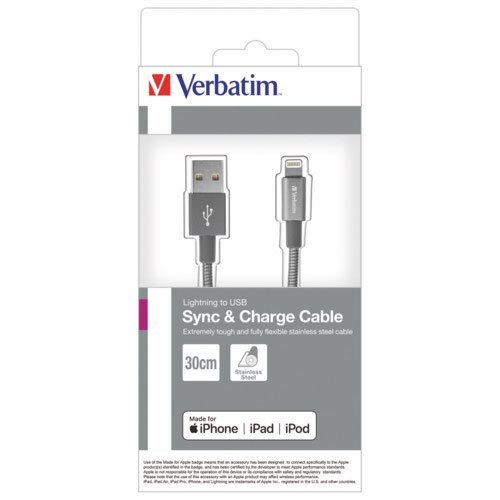 Verbatim Lightning Stainless Steel Sync & Charge Cable 100Cm Grey