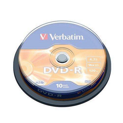 Verbatim DVD-R 16x Branded Silver Spindle of 10 Discs - 43523