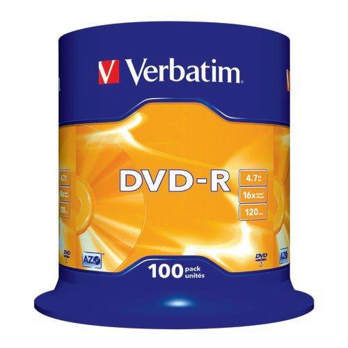 Verbatim DVD-R Non-Printable Spindle 16x 4.7GB (Pack of 100) 43549