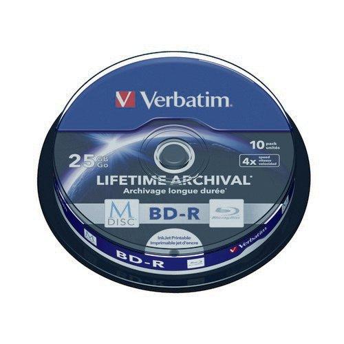 Verbatim M-Disc Blu-ray BD-R 25 GB 4x Printable Spindle (Pack of 10) 43825