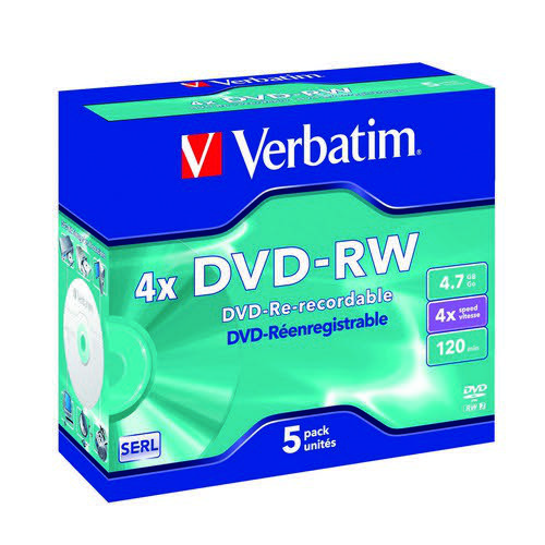 Verbatim DVD-RW 4x 4.7GB (Pack of 5) 43285