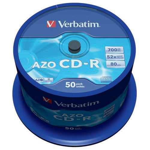 Verbatim CD-R AZO Crystal Spindle 700MB (Pack of 50) 43343