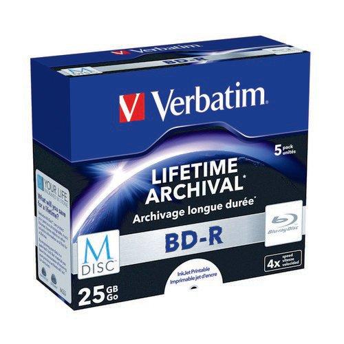 Verbatim M-Disc Blu-ray BD-R 25 GB 4x Printable Jewel Case (Pack of 5) 43823
