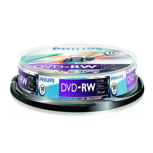 Philips DVD-RW 4.7GB 4x Spindle 10 Disks