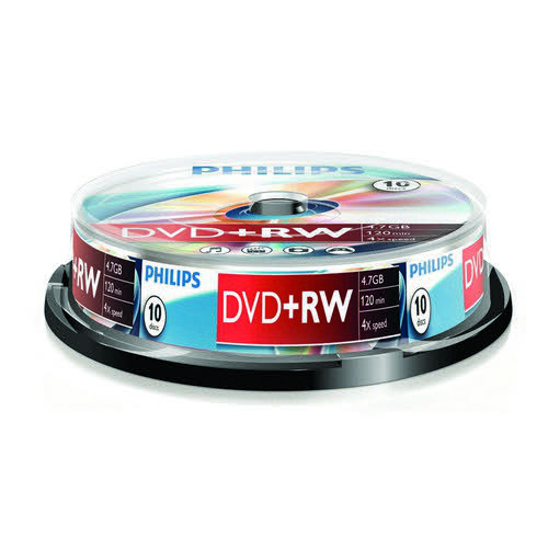 Philips DVD+RW 4.7GB 4x Spindle 10 Disks