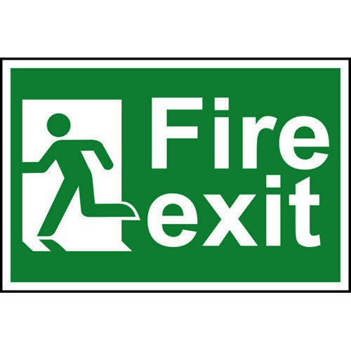 Spectrum Industrial Fire Exit RM Left S/A PVC Sign 300x200mm 1508