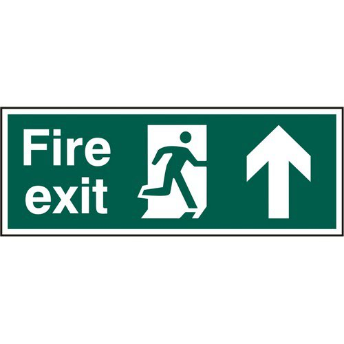 Fire Exit sign with running man and arrow up (400 x 150mm). Manufactured from strong rigid PVC and i