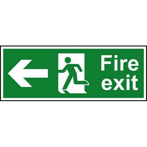Fire Exit sign with running man and arrow left (400 x 150mm). Manufactured from strong rigid PVC and
