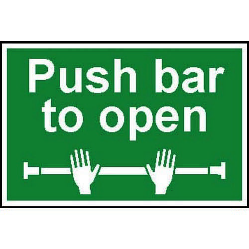 Self adhesive semi-rigid PVC Push Bar To Open sign (300 x 200mm). Easy to fix  simply peel off the b