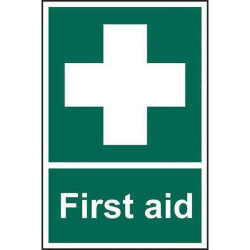 Self adhesive semi-rigid PVC First Aid sign (200 x 300mm). Easy to fix  simply peel off the backing