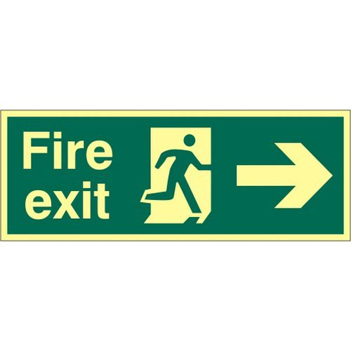 Fire Exit Sign with running man and arrow right (400 x 150mm). Made from 1.3mm rigid photoluminescen Fire Safety Signs IB1619