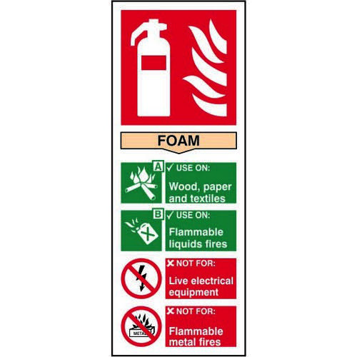 Fire Extinguisher Composite Foam sign (82 x 202mm). Manufactured from strong rigid PVC and is non-ad